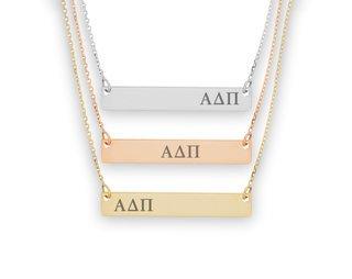 Alpha Delta Pi Letters Bar Necklace