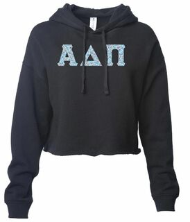 Alpha Delta Pi Lightweight Hooded Pullover Crop Sweatshirt