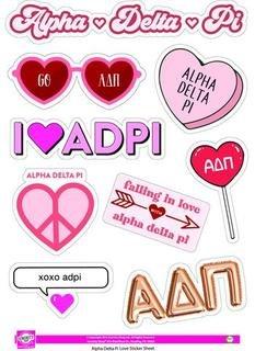 Alpha Delta Pi Love Theme Stickers
