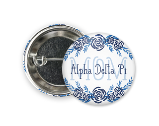 Alpha Delta Pi Mom Floral Button