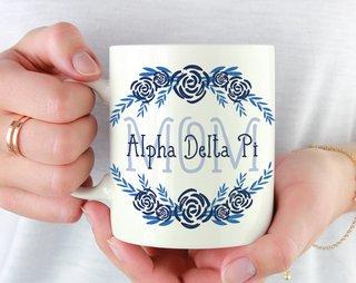 Alpha Delta Pi Mom Floral Mug