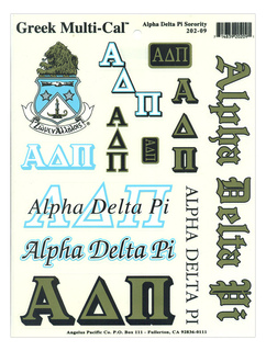 Alpha Delta Pi Multi Greek Decal Sheet