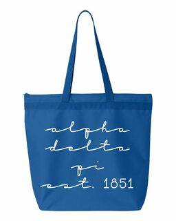Alpha Delta Pi New Script Established Tote Bag