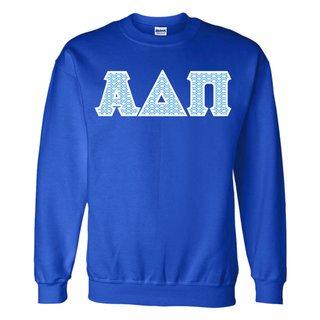 Alpha Delta Pi Official Blue & White Diamond Pattern Greek Lettered Crewneck Sweatshirt