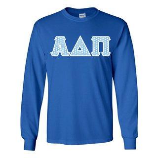 Alpha Delta Pi Official Blue & White Diamond Pattern Greek Lettered Longsleeve T-Shirt