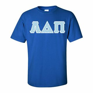 Alpha Delta Pi Official Blue & White Diamond Pattern Greek Lettered T-Shirt