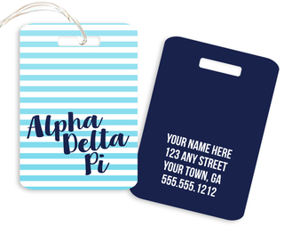 Alpha Delta Pi Personalized Striped Luggage Tag