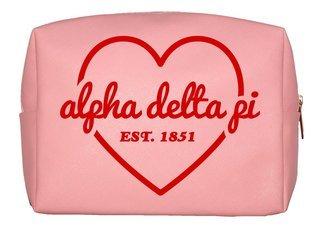 Alpha Delta Pi Pink with Red Heart Makeup Bag