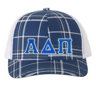 Alpha Delta Pi Plaid Snapback Trucker Hat - CLOSEOUT