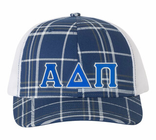 Alpha Delta Pi Plaid Snapback Trucker Hat
