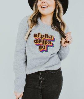 Alpha Delta Pi Retro Maya Comfort Colors Crewneck Sweatshirt