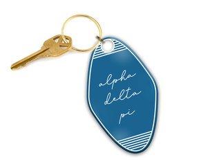 Alpha Delta Pi Script Motel Keychain