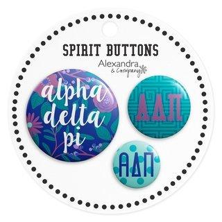 Alpha Delta Pi Sorority New Spirit Button Set