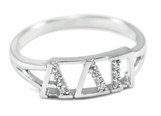 Alpha Delta Pi Sterling Silver Ring set with Lab-Created Diamonds