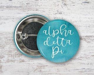 Alpha Delta Pi Watercolor Script Button