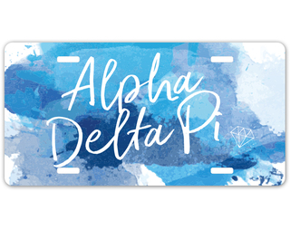 Alpha Delta Pi Watercolor Script License Plate