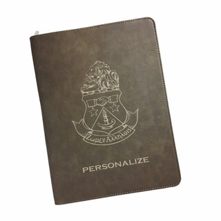 Alpha Delta Pi Zipper Leatherette Portfolio with Notepad