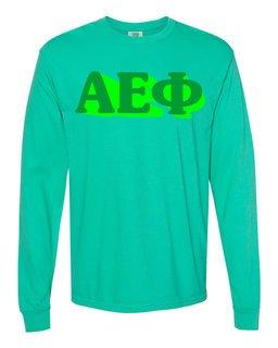 Alpha Epsilon Phi 3 D Greek Long Sleeve T-Shirt - Comfort Colors
