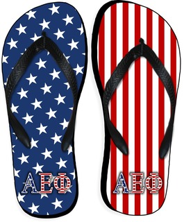 Alpha Epsilon Phi American Flag Flip Flops