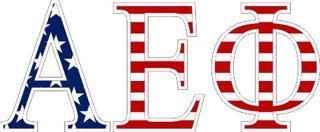 """Alpha Epsilon Phi American Flag Greek Letter Sticker - 2.5"""" Tall"""