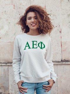 Alpha Epsilon Phi Arched Greek Lettered Crewneck Sweatshirt