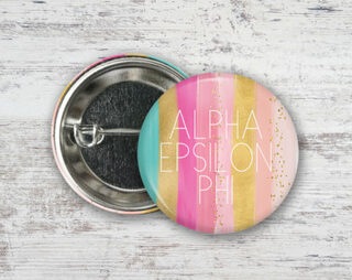 Alpha Epsilon Phi Bright Stripes Button