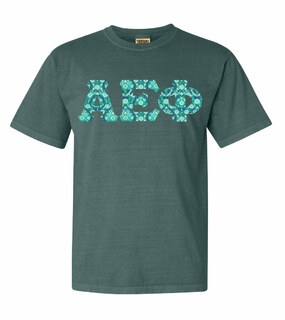 Alpha Epsilon Phi Comfort Colors Lettered Greek Short Sleeve T-Shirt