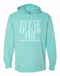 Alpha Epsilon Phi Comfort Colors Terry Scuba Neck Custom Hooded Pullover