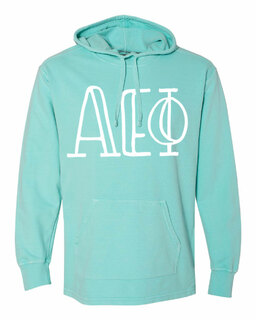 Alpha Epsilon Phi Comfort Colors - Terry Scuba Neck Greek Hooded Pullover