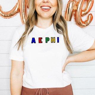 Alpha Epsilon Phi Custom Colors Embroidered Nickname Tee