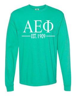 Alpha Epsilon Phi Custom Greek Lettered Long Sleeve T-Shirt - Comfort Colors