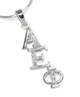 Alpha Epsilon Phi Diagonal Lavaliere set with Lab-Created Diamonds