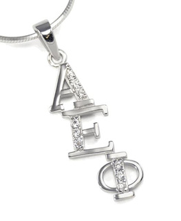 Alpha Epsilon Phi Diagonal Lavaliere set with Lab-Created Diamonds
