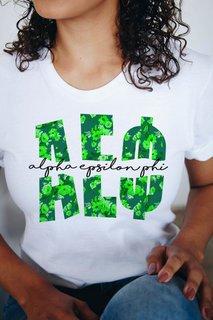 Alpha Epsilon Phi Floral Big Lettered T-Shirt