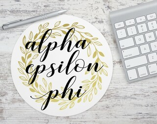 Alpha Epsilon Phi Gold Wreath Mousepad