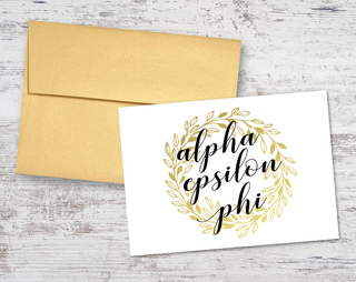 Alpha Epsilon Phi Gold Wreath Notecards(6)