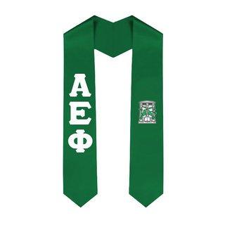 Alpha Epsilon Phi Greek Lettered Graduation Sash Stole With Crest