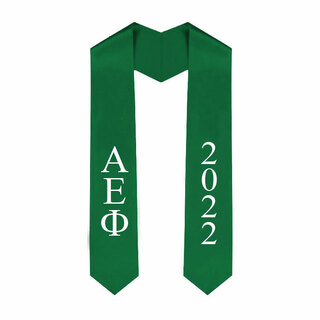 Alpha Epsilon Phi Greek Lettered Graduation Sash Stole With Year - Best Value