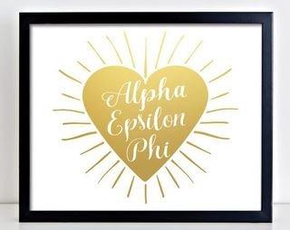 Alpha Epsilon Phi Heart Burst Foil Print