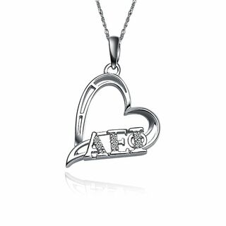 Alpha Epsilon Phi Heart Shape Silver Lavalier