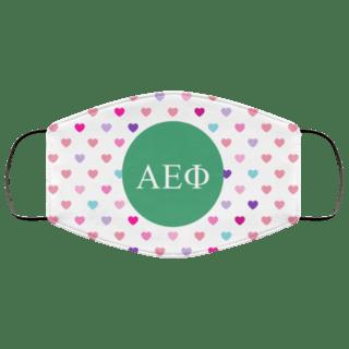 Alpha Epsilon Phi Hearts Face Mask