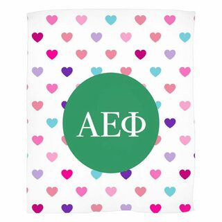 Alpha Epsilon Phi Hearts Fleece Blanket