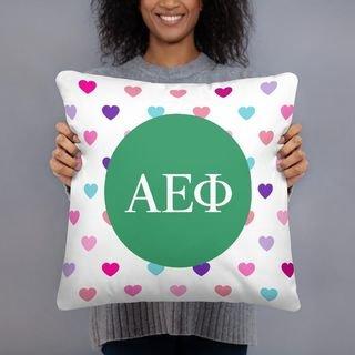 Alpha Epsilon Phi Hearts Pillow