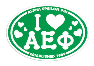 Alpha Epsilon Phi I Love Sorority Sticker - Oval