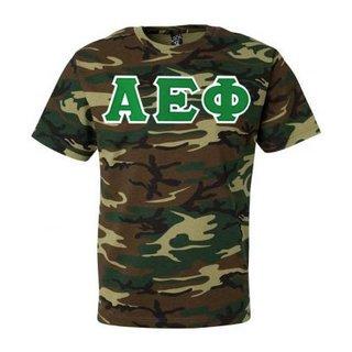 DISCOUNT-Alpha Epsilon Phi Lettered Camouflage T-Shirt