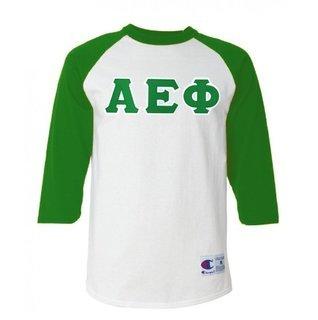 DISCOUNT-Alpha Epsilon Phi Lettered Raglan Shirt