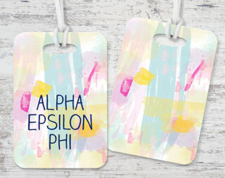 Alpha Epsilon Phi Watercolor Luggage Tag