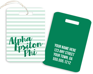 Alpha Epsilon Phi Personalized Striped Luggage Tag