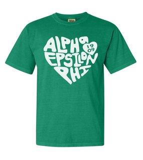 Alpha Epsilon Phi Piece of My Heart Sorority Comfort Colors T-Shirt
