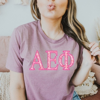 Alpha Epsilon Phi Pink Cluster Lettered Short Sleeve T-Shirt